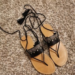 Soludos Shoes | Soludos Leather Wrap Lace Up Sanda